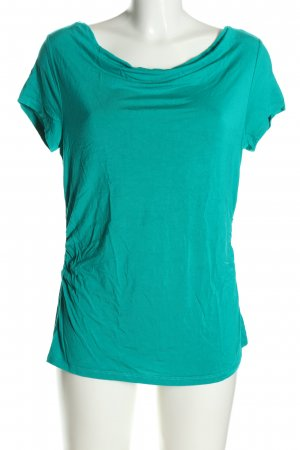 Comma Waterval shirt turkoois casual uitstraling