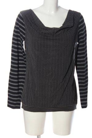 Comma Koszulka z dekoltem woda czarny-jasnoszary Abstrakcyjny wzór