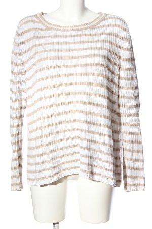 Comma Jersey trenzado blanco-marrón estampado a rayas look casual