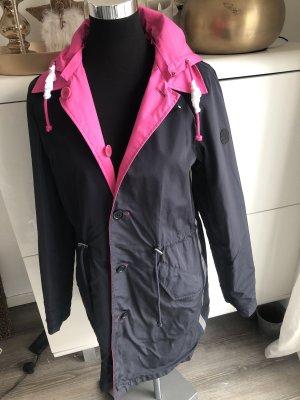 No. 1 Como Manteau à capuche bleu foncé-rose