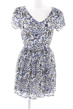 Compañia Fantastica Shortsleeve Dress white-steel blue flower pattern
