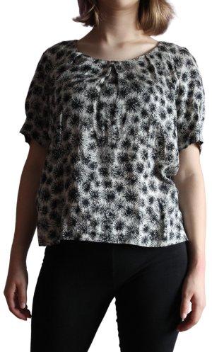 Comptoir des Cotonniers Kurzarm-Bluse creme-schwarz Allover-Druck Casual-Look