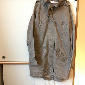 Comptoir des Cotonniers Manteau à capuche gris brun coton