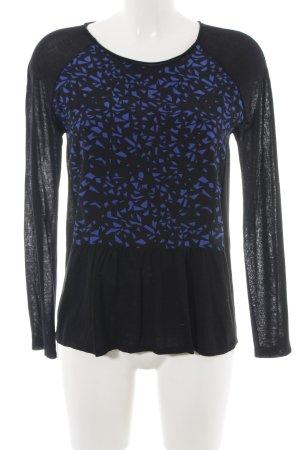 Comptoir des Cotonniers Strickshirt schwarz-blau abstraktes Muster Casual-Look