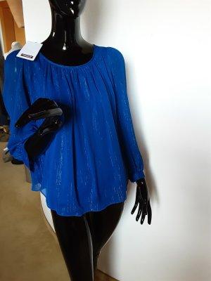 Comptoir des cottonniers, neue festliche blaue  Bluse mit feinem Glanz Gr. 34 bis 36