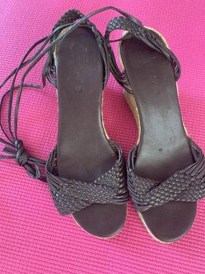 Comptoir des Cotonniers Wedge Sandals dark brown leather
