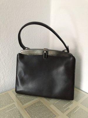 Comtesse Ledertasche Echtleder dunkelbraun schwarz Metall Silber Vintage Retro