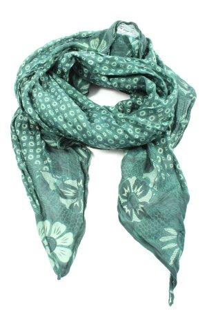 confezionato in italy Écharpe d'été vert motif de fleur style décontracté