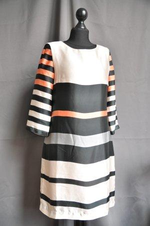 Conleys elegantes Sommerkleid beige lachs schwarz gestreift