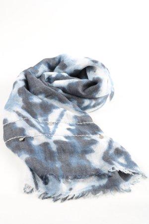 Conleys Sciarpa con frange blu-bianco stampa integrale stile casual