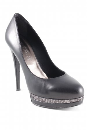 Conleys High Heels schwarz-silberfarben Punktemuster Elegant