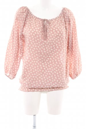 Conleys Langarm-Bluse pink-creme Allover-Druck Casual-Look