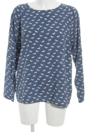 Conleys Langarm-Bluse stahlblau-weiß Allover-Druck Casual-Look