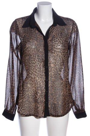 Conleys Camicia a maniche lunghe nero-marrone stampa integrale elegante