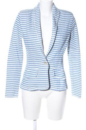 Conleys Long-Blazer weiß-blau Streifenmuster Casual-Look