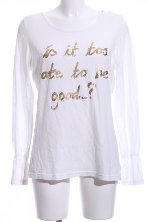 Conleys Longsleeve weiß-goldfarben Schriftzug gedruckt Casual-Look