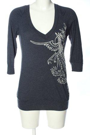 Conleys V-Ausschnitt-Shirt blau-weiß meliert Casual-Look