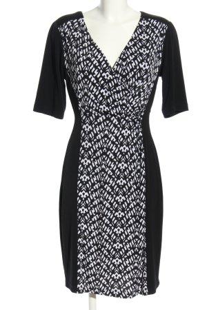 Connected Apparel Jerseykleid schwarz-weiß grafisches Muster Casual-Look
