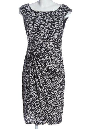 Connected Apparel Midikleid weiß-schwarz abstraktes Muster Casual-Look