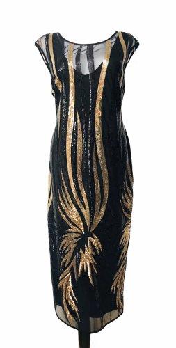 Connected Damen Abendkleid Pailletten Kleid Schwarz  Gold M