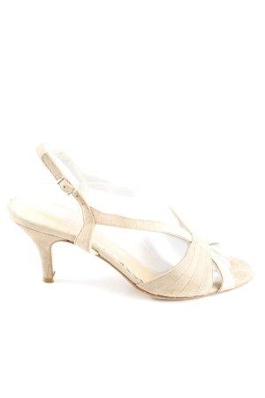 Sandalias de tacón de tiras crema elegante
