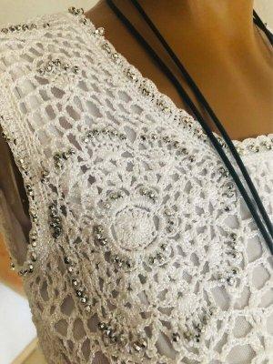 Conos Crochet Top white-silver-colored
