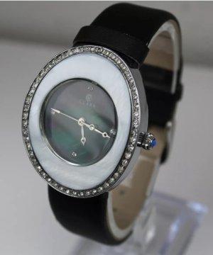 CLARA BY CONSTANTIN WEISZ Zegarek ze skórzanym paskiem biały-czarny