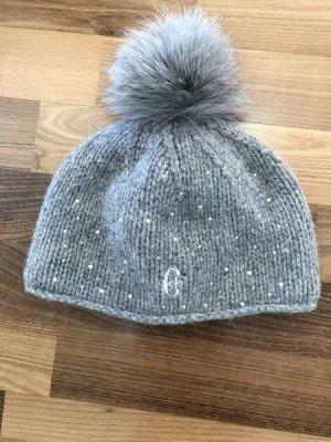 CONTE OF FLORENCE°Schöne warme Damen - Mütze mit edler Bommel°grau°Pailetten versetzt°hoher Neupreis°neuwertig