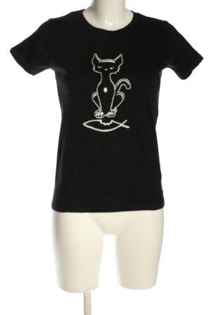 Continental Camicia fantasia nero-bianco Stampa a tema stile casual