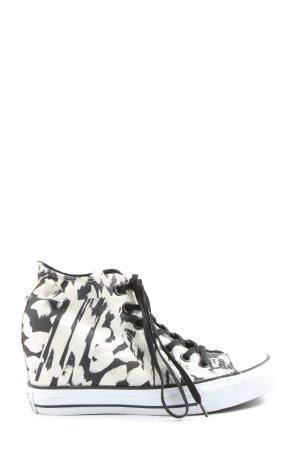 Converse Sneakers met hak wit-zwart volledige print casual uitstraling