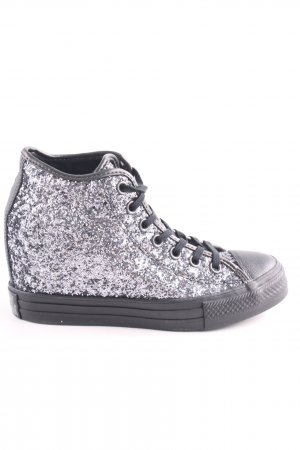 Converse Heel Sneakers silver-colored-black glittery