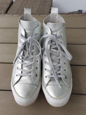 Converse Chuck Taylor All Star Hi Silber metallic Echtleder