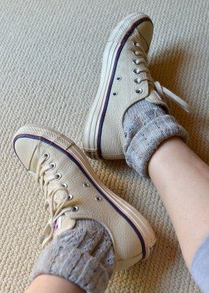 CONVERSE Chucks 37,5 unisex Leder Beige Grau neuwertig OVP Low Sneakers