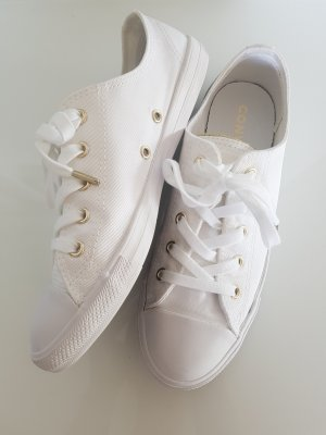 CONVERSE CHUCKS, weiß, gold, flach, low top, Gr.38, Sommer-Sneaker