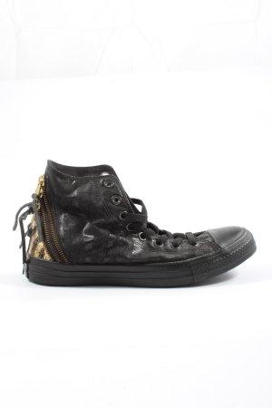 Converse High Top Sneaker schwarz-creme Animalmuster Casual-Look
