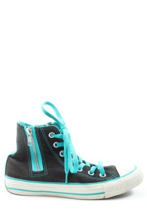 Converse High Top Sneaker schwarz-türkis Motivdruck Casual-Look