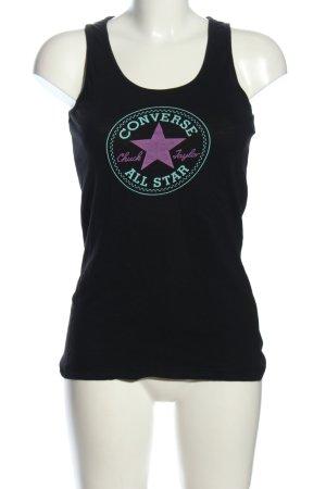 Converse Top largo negro estampado temático look casual