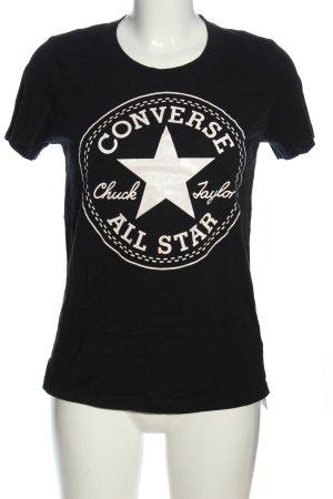 Converse T-shirt imprimé noir-blanc cassé lettrage imprimé
