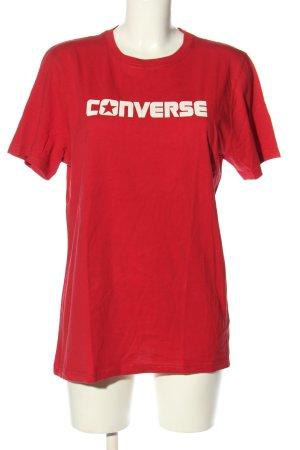 Converse Camicia fantasia rosso caratteri stampati stile casual