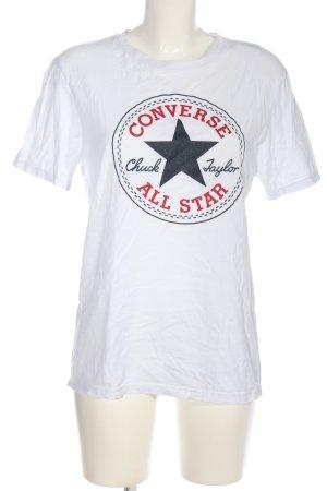 Converse T-shirt imprimé blanc imprimé avec thème style décontracté