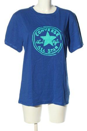 Converse Print-Shirt blau-türkis Motivdruck Casual-Look