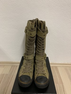 Converse Lace-up Boots olive green-khaki leather