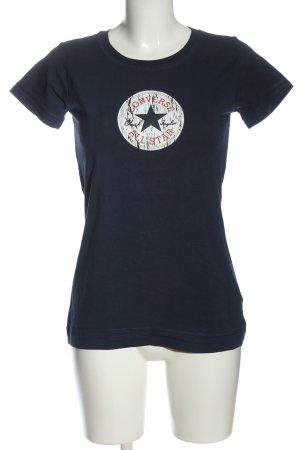 Converse Camicia maglia blu-bianco Stampa a tema stile casual