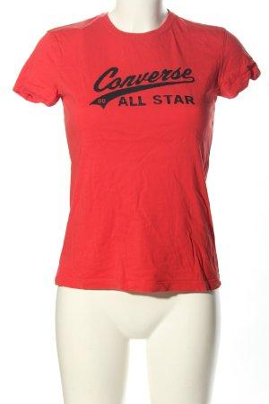 Converse T-shirt rosso-nero caratteri stampati stile casual