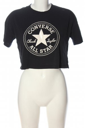 Converse T-shirt czarny-kremowy Nadruk z motywem W stylu casual