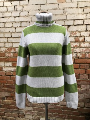 Conwell H&M Vintage Rolli Strick-Pullover mit Rollkragen grau grün gestreift Baumwolle Gr. 36