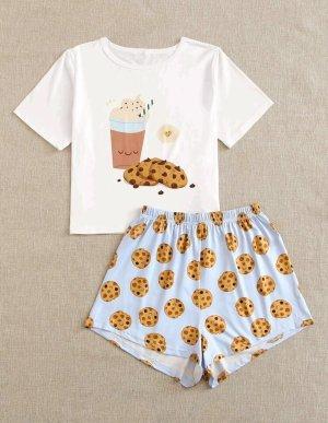 Pyjama white-azure