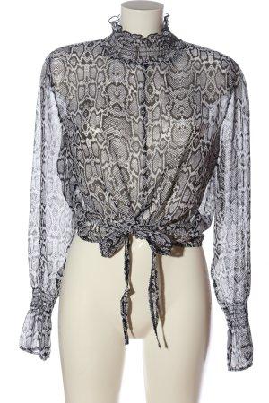 CoolCat Blusa trasparente bianco-nero motivo astratto stile casual