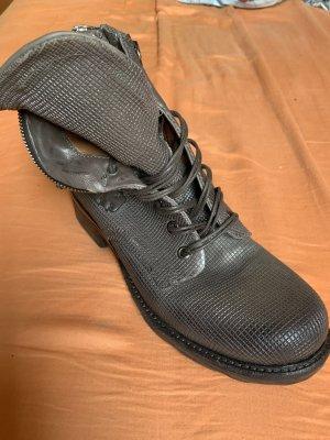 A.S.98 Bottines à lacets argenté-gris brun cuir