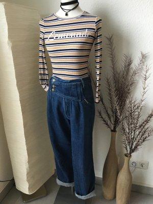 Hoge taille jeans blauw-zilver